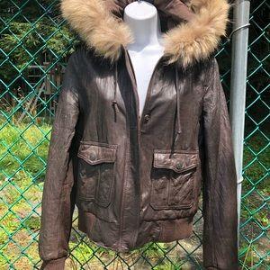 True Religion leather coat / fur trim